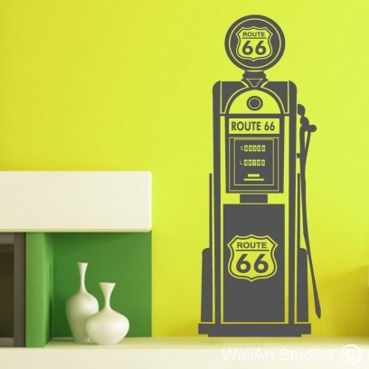 Route 66 Gas Pump wall decal, Petrol Pump wall stickers, Retro gas pump sticker, vintage petrol pump decal, Route 66 wall decals
