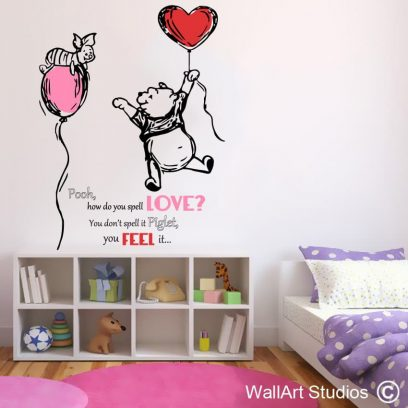 Piglet and pooh love wall art quote, winnie the pooh wall decal, winnie the pooh wall sticker for girls, winnie the pooh wall art for nursery
