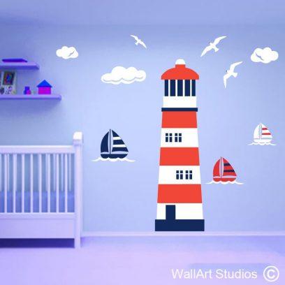 Lighthouse theme wall art decal, nautical theme for boys nursery, seagull wall decal, boats for boys rooms, nautical home decor, custom wall art stickers