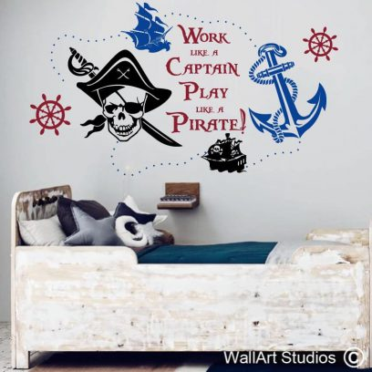 Work like a Captain Play like a Pirate wall art decal, Pirate wall stickers for boys rooms, nautical wall decal for boys nursery, custom nautical wall art decals