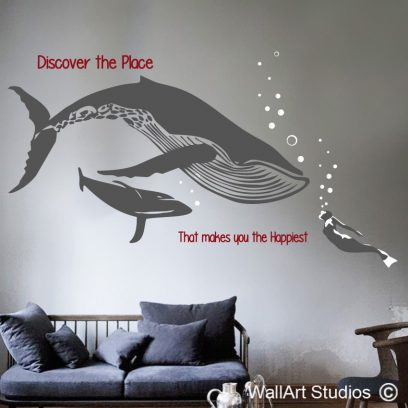 Southern Right Whale wall art decal with diver, Whale wall stickers, Nautical themes, Whale wall designs, Under the sea wall art designs, custom wall decals