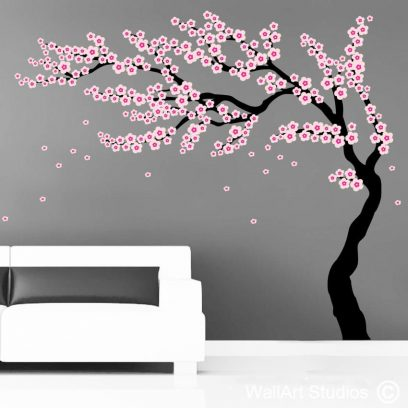 Oriental Cherry Blossom Tree, cherry blossom wall declas, blossoms, tre decals, falling blossoms, pink flowers, custom wall decal, custom wall stickers, removable wall decals