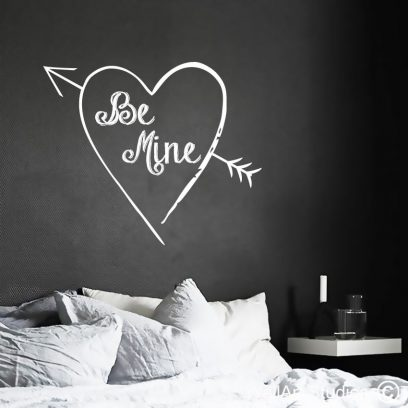 Be Mine wall art decal, valentines day wall stickers, hearts wall decals, heart with arrow wall sticker, hearts, arrows