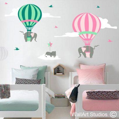 Hot Air Balloons with Elephants, hot air balloons wall decals for boys room, elephant wall stickers for nursery room, sticky things, nursery room decor, wallart studios