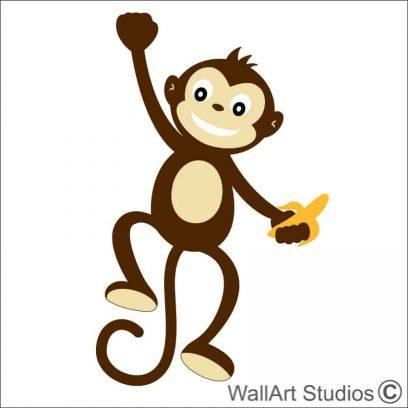 Monkey Swinging with Banana wall art decal, monkey wall stickers, jungle theme wall art decals, nursery wall stickers, boys room wall art decor