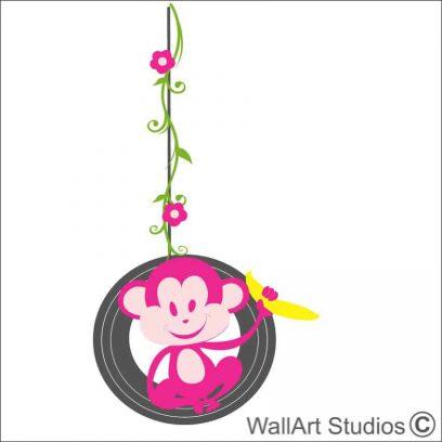 Monkey Vine Swinging Tyre wallart decal, nursery wall stickers, girls wall art ideas, monkey wall tattoos, wallart studios, cape town, johannesburg, pretoria
