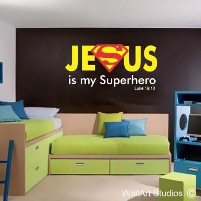 Jesus is my Superhero Luke 19-10 wall art sticker, religious wall art decals, bible verses, luke 19-10 wall tattoo, custom bible wall stickers, sticky things