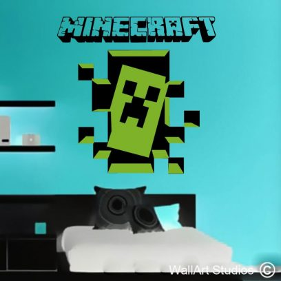 Minecraft creeper, creper wall art, minecraft wall stickers, mine craft, creeper, wall art studios