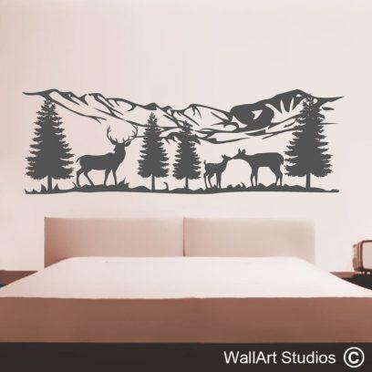 Mountain Range with Deer,pine trees, stag,deer,doe,bambi,mountain wall art, wall decal, mountain decal,wall art studios