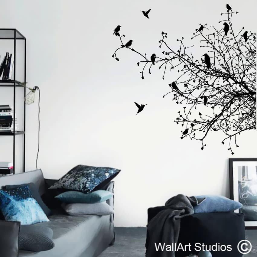 Birds on branches silhouette home decor decals wall art studios