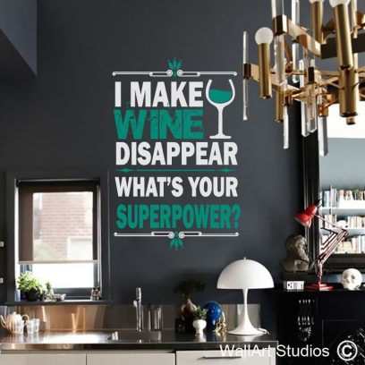 Wine Disappear wall decal, wine wall art, superpower wall stickers,wall art studios