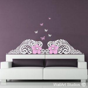 Nouveau Deco Floral Butterflies, wall art stickers, nouveau