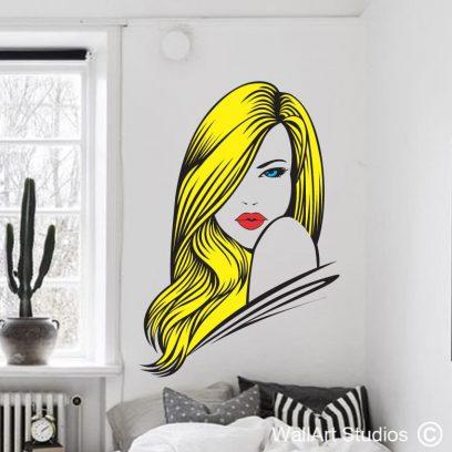 Gorgeous Hair Pop Art wall decal, beauty salon wall art, hair salon wall stickers, hair, beauty, eyes, green, blue, pop art, wall art, custom wall art designs, hairdresser, stylist, murals, stickers