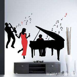 All That Jazz wall decals, jazz wall art, saxophone player, lady singing wall sticker, piano, bass, music wall art, music notes