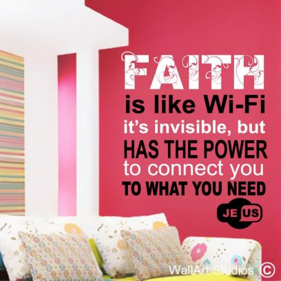 WiFi Faith, church wall stickers, bible quotes, modern religious wall art decals, custom bible quotes, custom wall art stickers, custom wall art decals