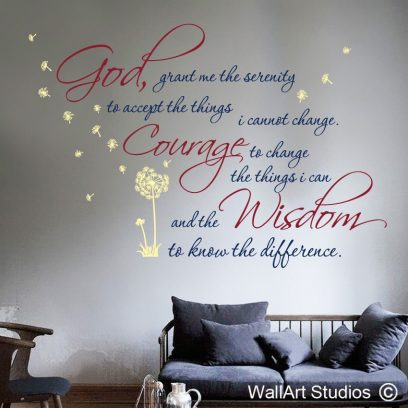 serenity prayer wall sticker, bible wall art, custom bible quotes for walls, removable wall stickers, religious wall decals, church wall decor