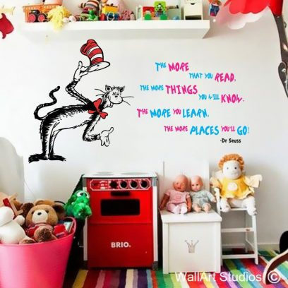 Dr Seuss The more that you Read vinyl wall stickers, dr seuss, kids wall art decals, vinyl stickers for kids rooms, home decor, wall decor, custom wall art