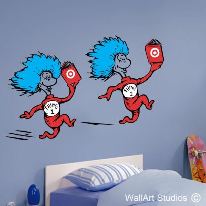 Thing 1 Thing 2, dr seuss, wall art, stickers, wall decals, custom wall art
