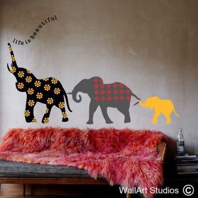 Life beautiful elephants, Life, beautiful, elephants, nursery wall art, wall stickers, wall decals, custom wall art, removable wall stickers