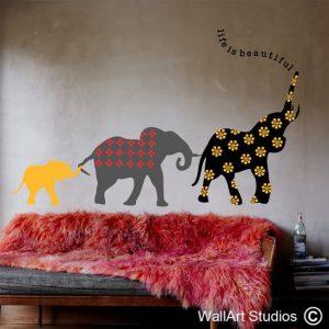 life, elephants, beautiful, wall stickers, vinyl, wall, art, animals, africa, nursery, decor, tribal