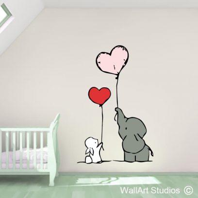 Elephant & Bunny Love, wall stickers, wall art decals, nursery stickers, hearts, room decor, wall decor, wall murals, vinyl stickers, custom wall art, Durban, Pretoria, bloemfontein
