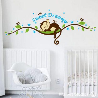Sleeping Monkey with birds, monkey wall stickers, custom wall decals, boys room decals, nursery wall stickers, birds, monkeys, sweet dreams, stars