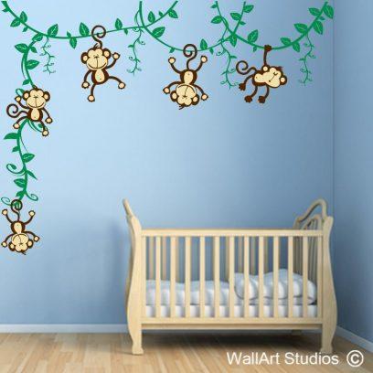 Swinging monkeys on vines, monkey wall stickers, vines, hanging monkeys, wall stickers, wall art, removable, borys decor, nursery wall stickers, girls, cute, adorable, custom, graphic design