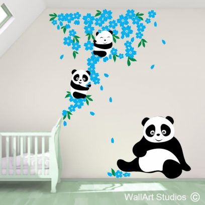 Panda Flowers, wall art, stickers, wall tattoo, custom wall decals, bamboo, panda, flowers
