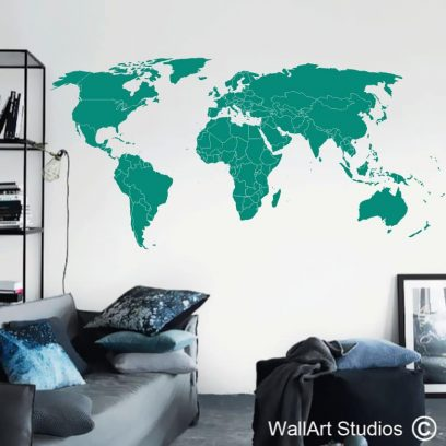 World Map Countries Wall Decals