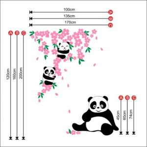 panda flowers, wall stickers, cute panda, bamboo, nursery wall art, vinyl tattoos, wall stickers