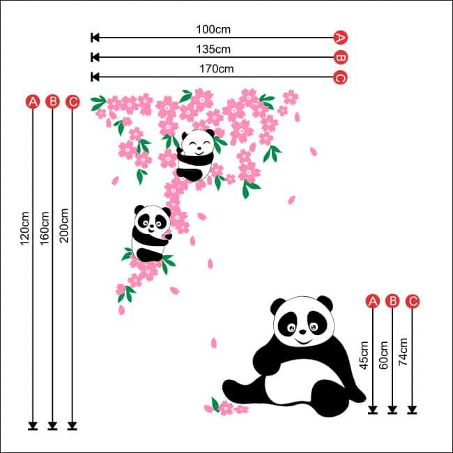 panda flowers, wall stickers, cute panda, bamboo, nursery wall art, vinyl