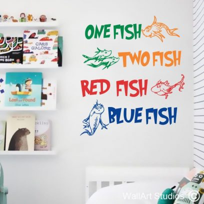 Dr Seuss One Fish Wall Art Decal, dr seuss, one fish, two fish, red fish, blue fish, wall stickers, wall art, wall tattoos