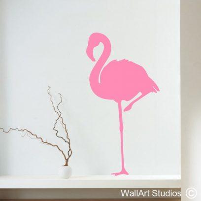Flamingo Wall Art Sticker, pink, birds, decals