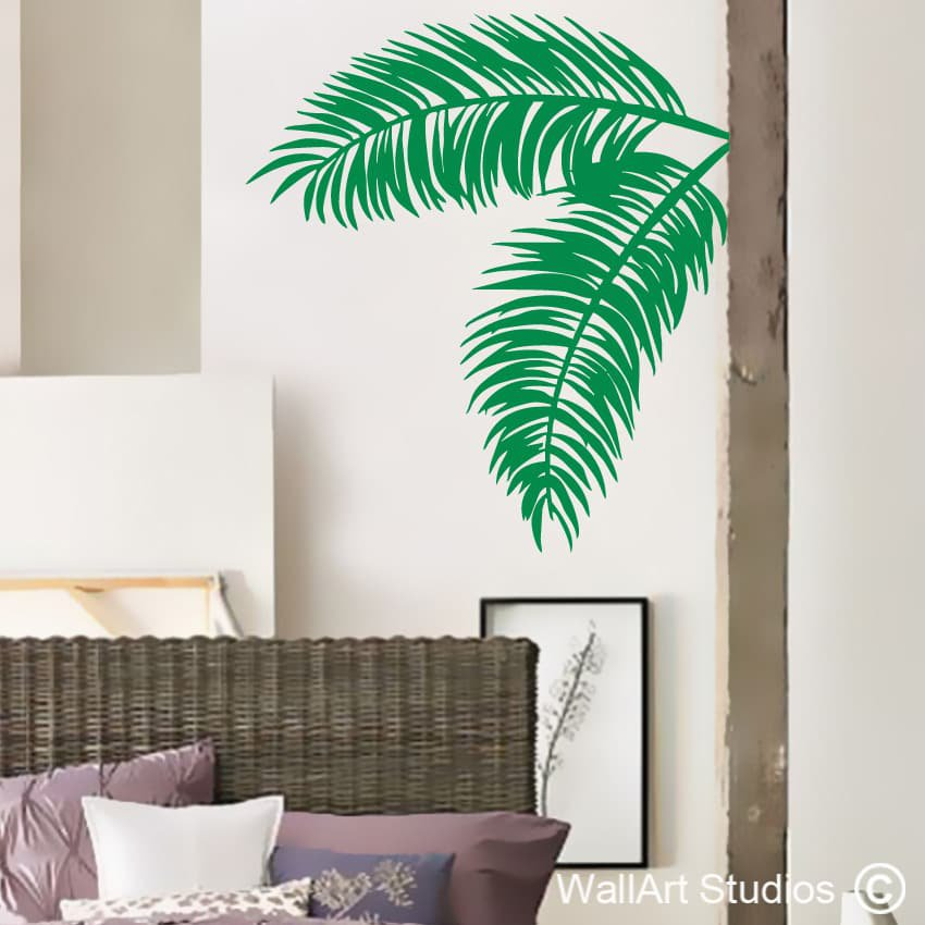 palm leaves wall decal stickers wall art studios. Black Bedroom Furniture Sets. Home Design Ideas