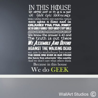 In this House we do Geek Wall Art, dr who, harry potter, game of thrones, avengers, star trek, lord of the rings, x-files, hitchhikers guide to the galaxy, wall stickers, wall decals, wall tattoos, fun wall decor, custom wall art