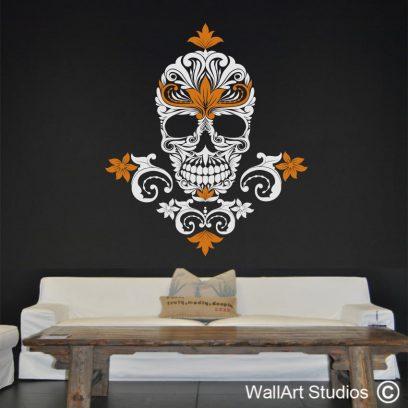 Art Deco Skull Wall Sticker, sugar skull, wall tattoo