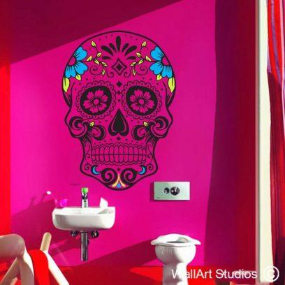Mexican Sugar Skull Wall Tattoo, stickers, decals