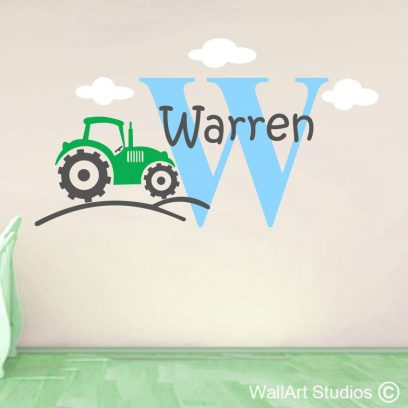 Farm Tractor Wall Art Sticker, clouds, name
