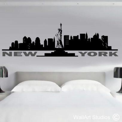New York Skyline Wall Art Decal, vinyl, sticker,statue of liberty, empire state building