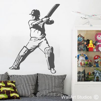 Cricket Batsman Wall Sticker, sport, decal, player, wall tattoo, custom, vinyl