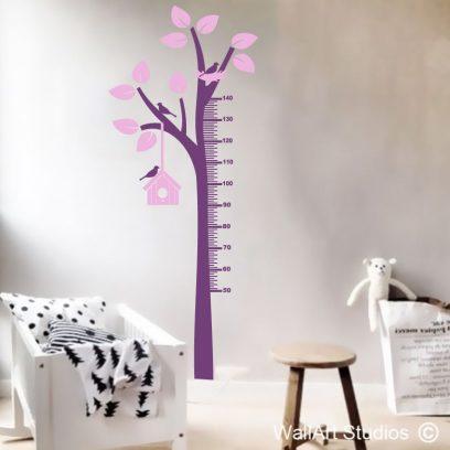 Tree birds nest height growth chart wall sticker
