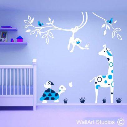 Monkey Giraffe Tortoise Jungle Wall art theme, stickers, custom, butterfly, birds, toucan