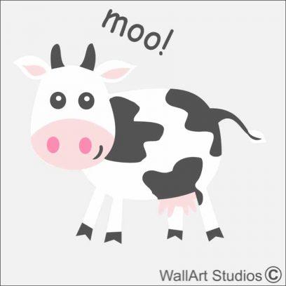 Cow Farm Yard Wall Sticker, barn, sheep, pig, horse, chickens, tractor, clouds
