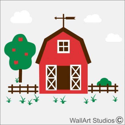 Barn Farm Yard Wall Sticker, clouds, apple tree, bush, picket fence