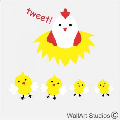 Chicken with chicks Farm yard wall sticker, barn, diy, nursery