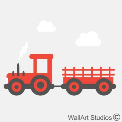 Farm Tractor with trailer wall sticker, clouds