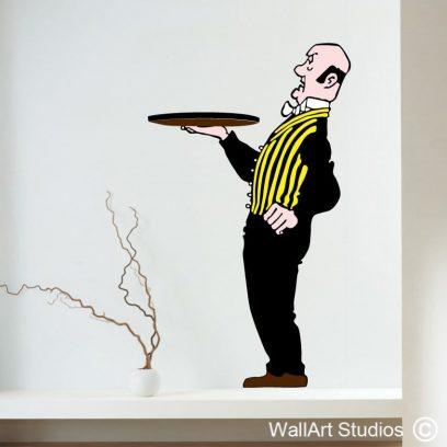 Nestor The Butler Wall art sticker, decals, custom, retro, pop art, comic, floating shelf, Tin Tin, Snowy