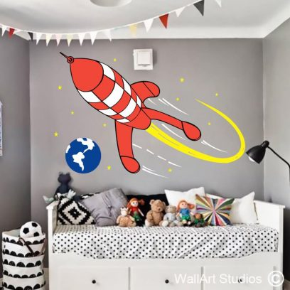 Tin Tin Rocket wall decal, space ship, starts, earth, planets, stickers, custom designs