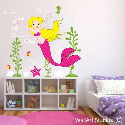 Mermaid Kisses & Starfish Wishes Wall Sticker, jellyfish, fishes, seaweed, ocean, underwater, girls room decor, custom designs, vinyl wall tattoos, decals