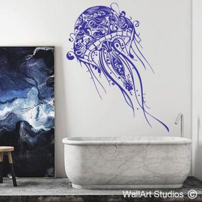 Tribal Decorative Jellyfish wall decal, wall art, stickers, vinyl, custom